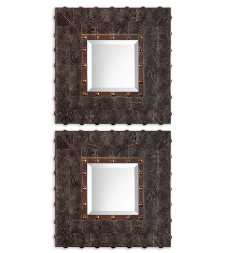 Uttermost 08072 Micah 21 X 21 inch Dark Sable Brown Wall Mirrors