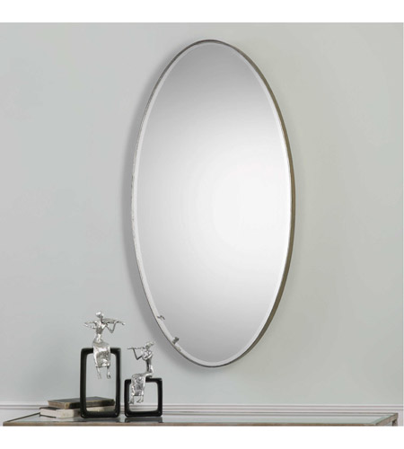 Uttermost 09095 Petra Oval 48 X 24 inch Antique Silver Leaf Wall Mirror 09095.jpg