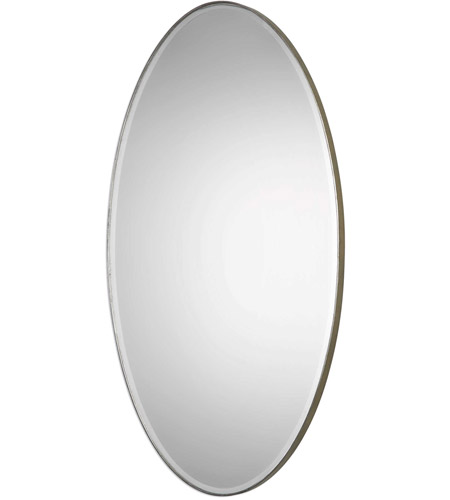 Uttermost 09095 Petra Oval 48 X 24 inch Antique Silver Leaf Wall Mirror