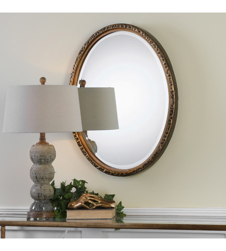 Uttermost 09113 Pellston 30 X 23 inch Golden Bronze Wall Mirror, Oval 09113-A.jpg