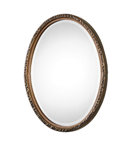 Uttermost 09113 Pellston 30 X 23 inch Golden Bronze Wall Mirror, Oval
