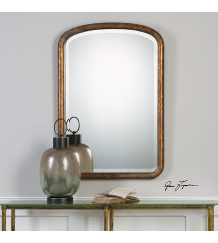 Uttermost 09192 Vena 38 X 26 inch Gold Arch Wall Mirror, Grace Feyock 09192_lifestyle.jpg