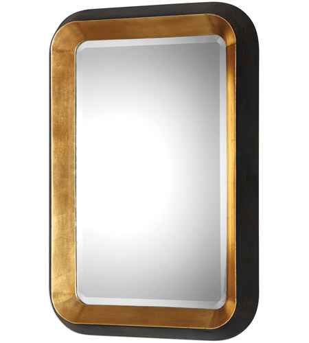Uttermost 09301 Niva 42 X 28 inch Antiqued Metallic Gold Leaf and Distressed Black Wall Mirror 09301-A.jpg