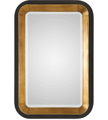 Uttermost 09301 Niva 42 X 28 inch Antiqued Metallic Gold Leaf and Distressed Black Wall Mirror