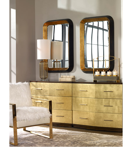 Uttermost 09301 Niva 42 X 28 inch Antiqued Metallic Gold Leaf and Distressed Black Wall Mirror 09301_RS_2.jpg