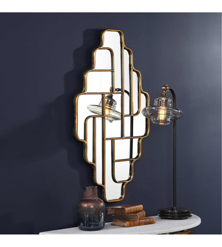 Uttermost 09465 Vada 36 X 21 inch Antiqued Metallic Gold Wall Mirror 09465_4_.jpg