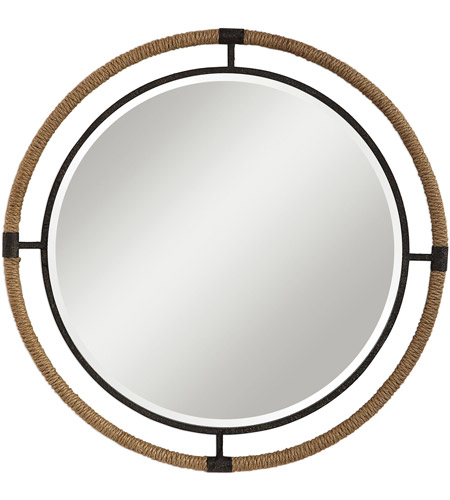 Uttermost 09475 Melville 36 X 36 inch Textured Rust Black and Natural Rope Wall Mirror photo