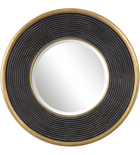 Uttermost 09529 Odyssey 36 X 36 inch Aged Black and Metallic Gold Leaf Wall Mirror