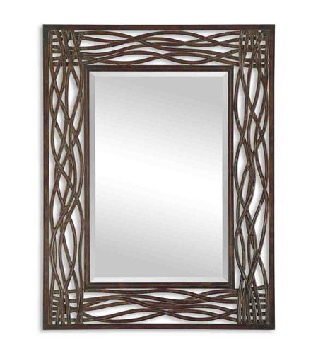 Uttermost 13707 Dorigrass 42 X 32 inch Distressed Mocha Brown Forged Metal Mirror Home Decor photo