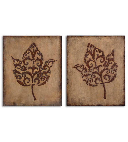 Uttermost Decorative Leaves Set of 2 Metal Wall Art in Antiqued Beige Stucco 13732 photo