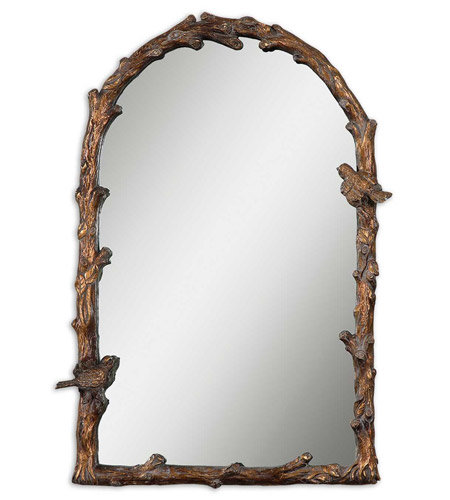 Uttermost Paza Arch Mirror in Distressed Antiqued Gold Leaf 13774 photo