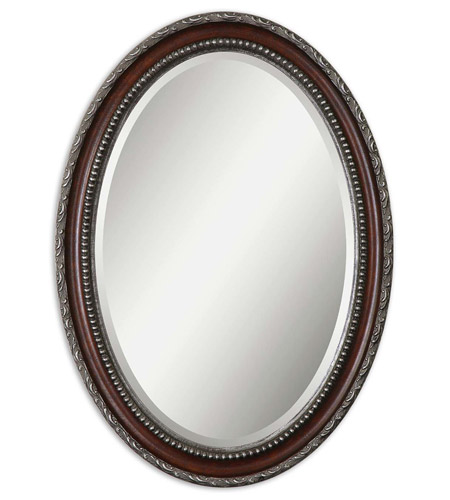 Uttermost 14196 Montrose 35 X 25 inch Distressed Dark Mahogany Wood Tone Mirror Home Decor photo