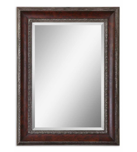 Uttermost 14197 Montrose 46 X 34 inch Distressed Dark Mahogany Wood Tone Wall Mirror