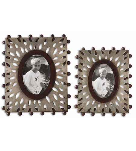 Uttermost Nanala Photo Frames Set of 2 Home Accessory in Antique Silver Leaf 18502 photo