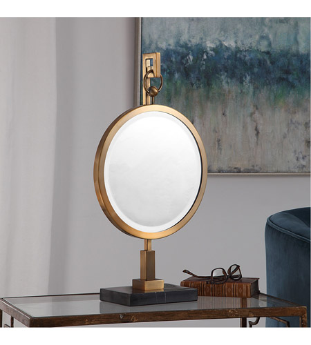 Uttermost 18999 Nori Brushed Bronze and Black Marble Tabletop Mirror 18999_Lifestyle.jpg