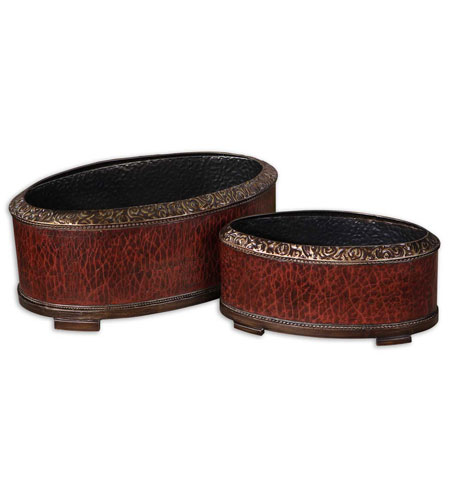 Uttermost 19377 Patala Heavily Crackled Deep Red Planters