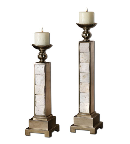 Uttermost 19425 Travertine 22 X 5 inch Candleholders