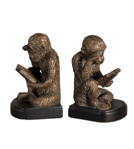 Uttermost 19474 Monkey Bookends 5 inch Umber Patina Bookends