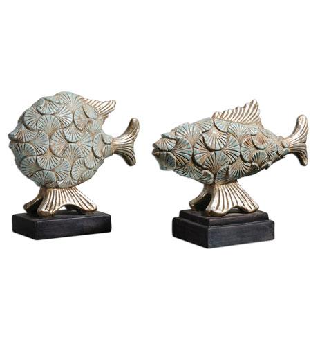 Uttermost Deniz Fish Set of 2 Home Accessory in Distressed Crackled Sea Foam Green Ceramic 19550 photo