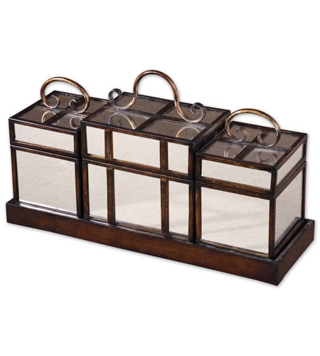 Uttermost 20462 Preston 21 inch Distressed Mahogany Boxes and Tray Set