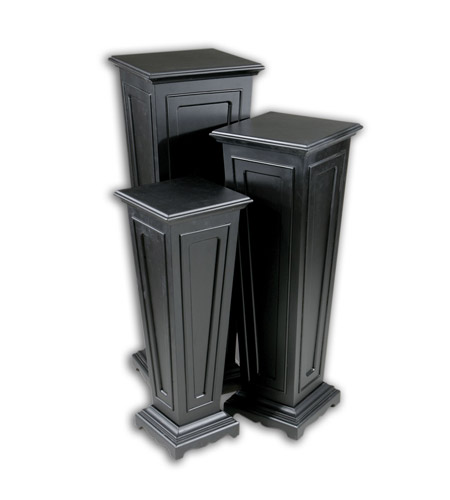 Uttermost Keir Plant Stands Set of 3 Home Accessory in Matte Black 20641 photo