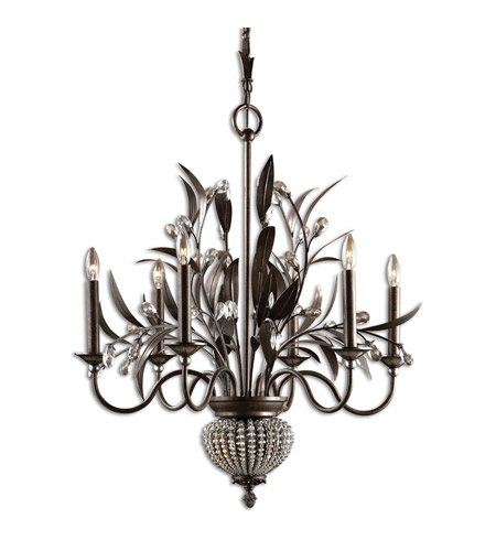 Uttermost Cristal De Lisbon 6+2 Lt Chandelier in Golden Bronze 21017 photo