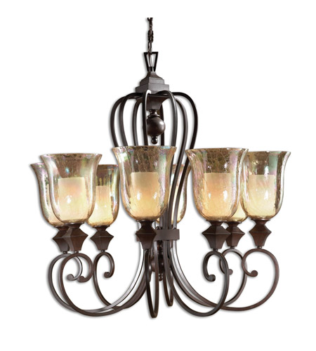 Uttermost Elba 8-Lt Chandelier in Spice 21049 photo