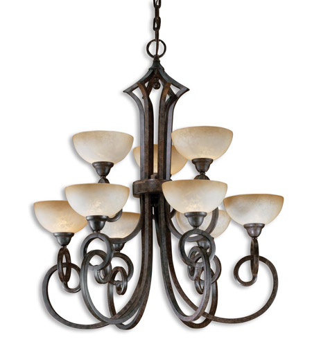 Uttermost Legato 9 Lt Chandelier in Distressed Chestnut Brown 21081 photo
