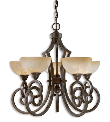 Uttermost Legato 5 Lt Chandelier in Distressed Chestnut Brown 21083 photo