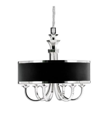 Uttermost 21130 Tuxedo 6 Light 28 inch Silver Plated Chandelier Ceiling Light photo thumbnail