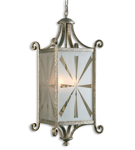 Uttermost Lyon 4 Lt Lantern in Heavily Antiqued Mottled Silver Leaf 21148 photo