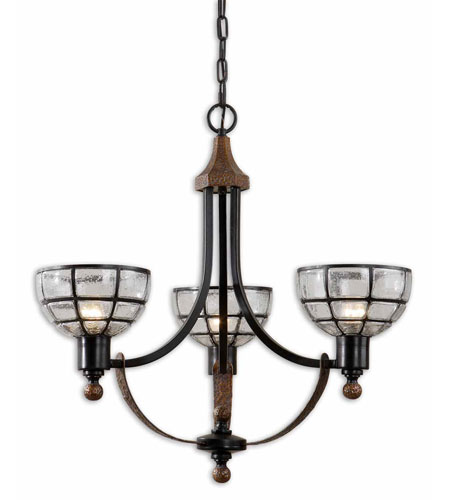 Uttermost Gelati 3 Lt Chandelier in Lightly Antiqued Hammered Copper 21231 photo