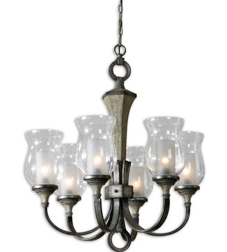 Uttermost Gilman 6 Light Chandelier in Aged Ivory and Antique Silver 21239 photo