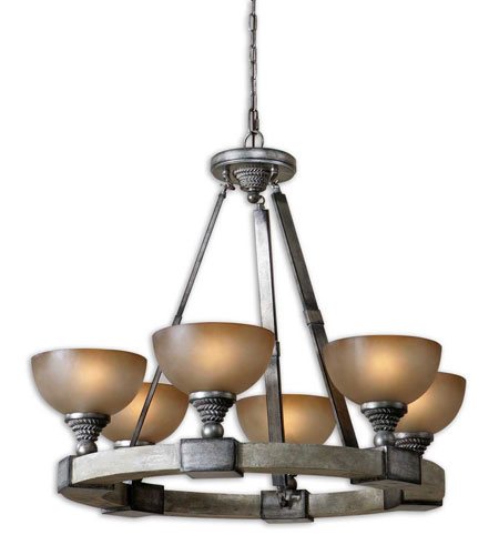 Uttermost Gilman 6 Light Chandelier in Aged Ivory and Antique Silver 21240 photo