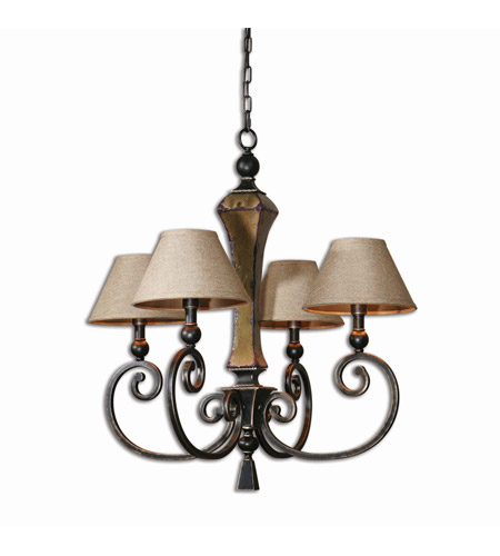 Uttermost Porano 4 Light Chandelier in Oil Rubbed Bronze 21241