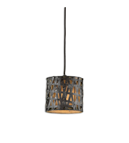 Uttermost 21835 Naturals 1 Light 8 inch Aged Black Mini Metal Hanging Shade Ceiling Light
