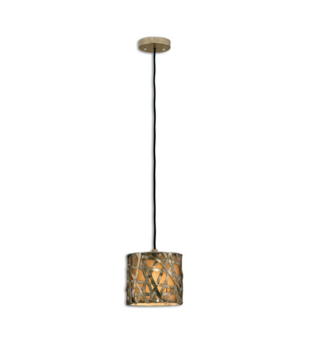 Uttermost 21839 Naturals 1 Light 8 inch Silver Leaf Mini Metal Hanging Shade Ceiling Light photo