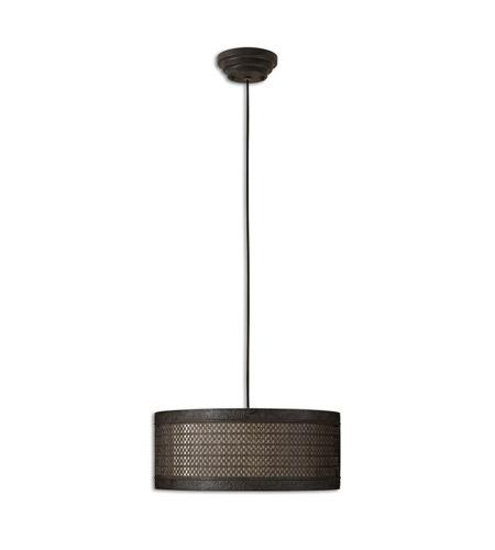 Uttermost 21891 New Orleans 3 Light 22 inch Semi Matte Black Hanging Shade Ceiling Light photo
