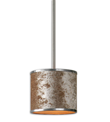 Uttermost Panache 1 Light Mini Pendant in Brushed Nickel 21948 photo