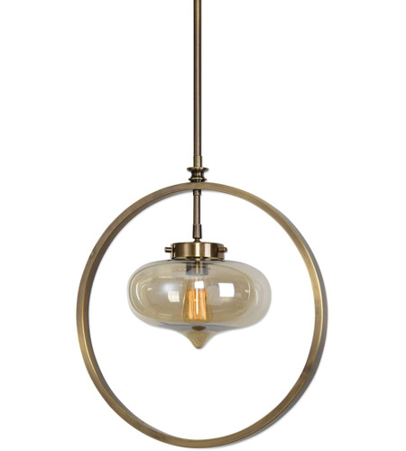 Uttermost 22116 Namura 1 Light 11 inch Antiqued Plated Brass Mini Pendant Ceiling Light 22116-A.jpg