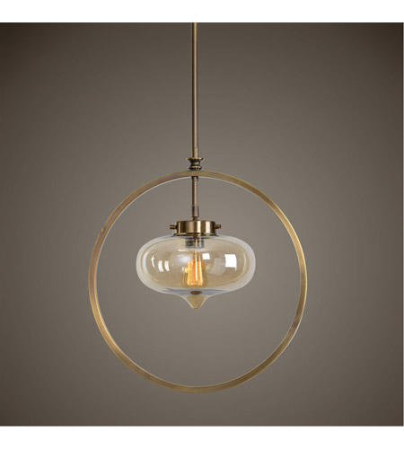 Uttermost 22116 Namura 1 Light 11 inch Antiqued Plated Brass Mini Pendant Ceiling Light 22116_Lifestyle.jpg