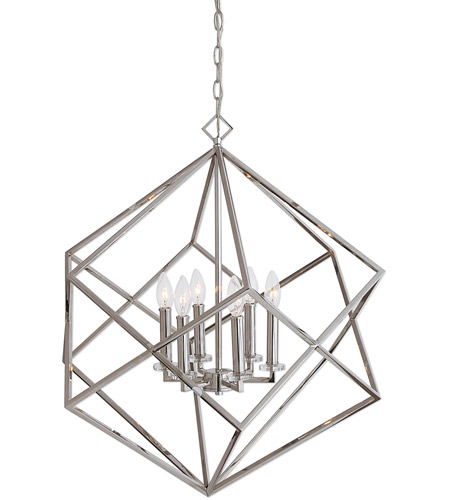Uttermost 22122 Euclid 6 Light 26 Inch Polished Nickel Pendant Ceiling