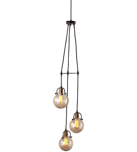 Uttermost 22141 Methuen 3 Light 12 inch Weathered Bronze and Antique Brass Pendant Ceiling Light