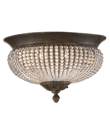 Uttermost Cristal De Lisbon Flush Mount in Golden Bronze 22222 photo