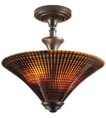 Uttermost Alexander 2 Lt Semi Flush Mount in Lightly Distressed Spice 22255 photo