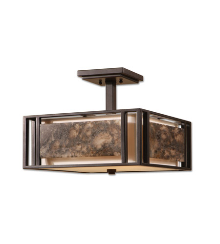 Uttermost Quarry 3 Lt Semi Flush Mount in Oil Rubbed Bronze 22268 photo