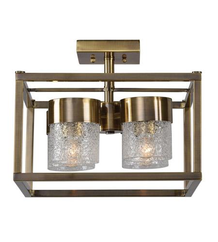 Uttermost 22276 marinot 4 light 15 inch antique brass semi flush mount ceiling light photo