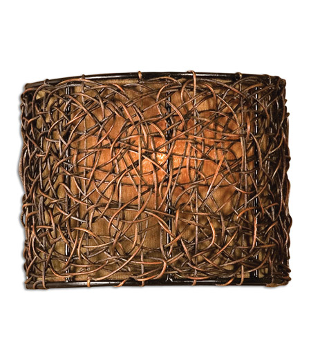 Uttermost Knotted Rattan 1 Lt Wall Sconce in Hand Rubbed Espresso 22466 photo
