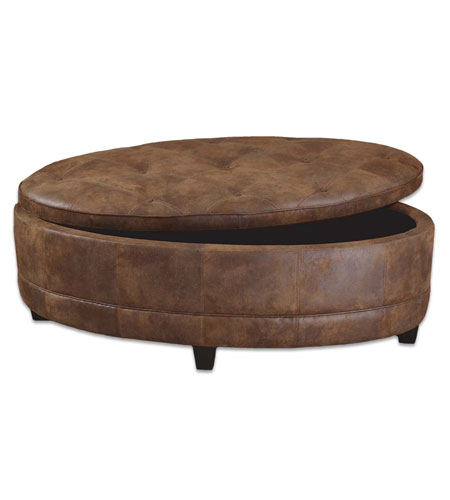 Uttermost Gideon Storage Bench in Time-Worn Faux Tanned Leather 23019 photo