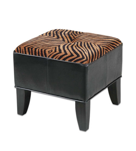 Uttermost Kumari Ottoman in Plush Golden Brown And Black Stripes 23022 photo